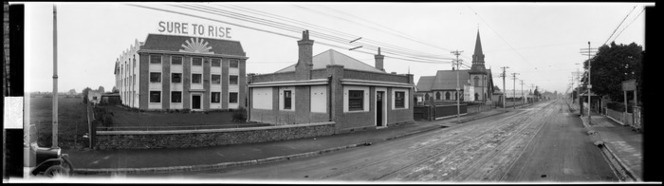 View down Ferry Road, Christchurch, taken between 1923 and 1928, showing the Edmonds factory, which was demolished in 1990, Ref: Pan-0215