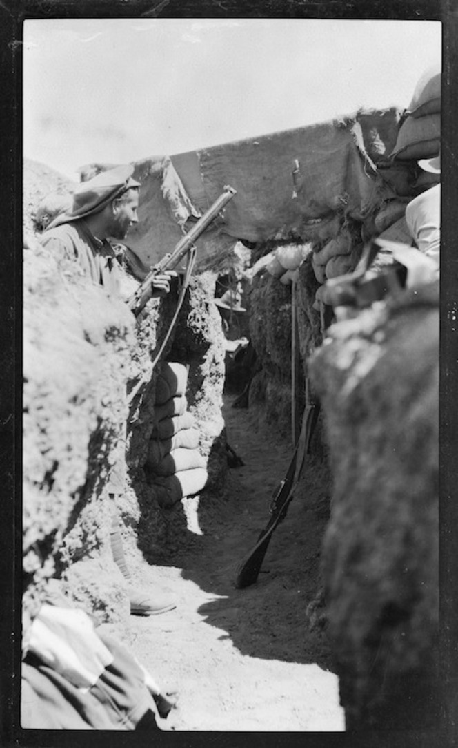 Photograph of Australian WWI soldiers in the firing trench at Popes Post, Gallipoli, Turkey.