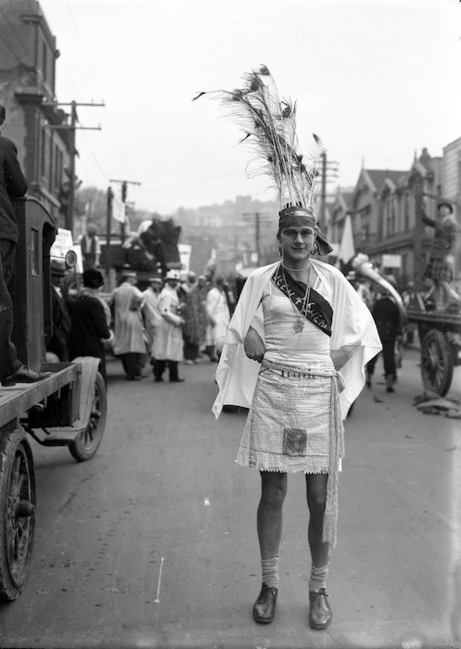 'Queen of Sheba', participant in the Victoria University capping day parade, 1928
