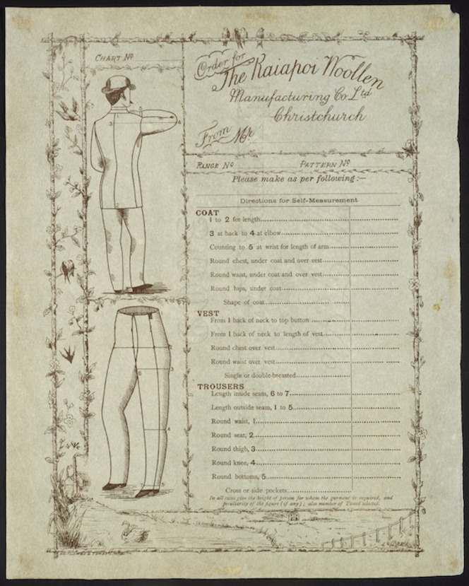 Kaiapoi Woollen Manufacturing Company Ltd. Order for Kaiapoi Woollen Manufacturing Co Ltd, ca 1886.