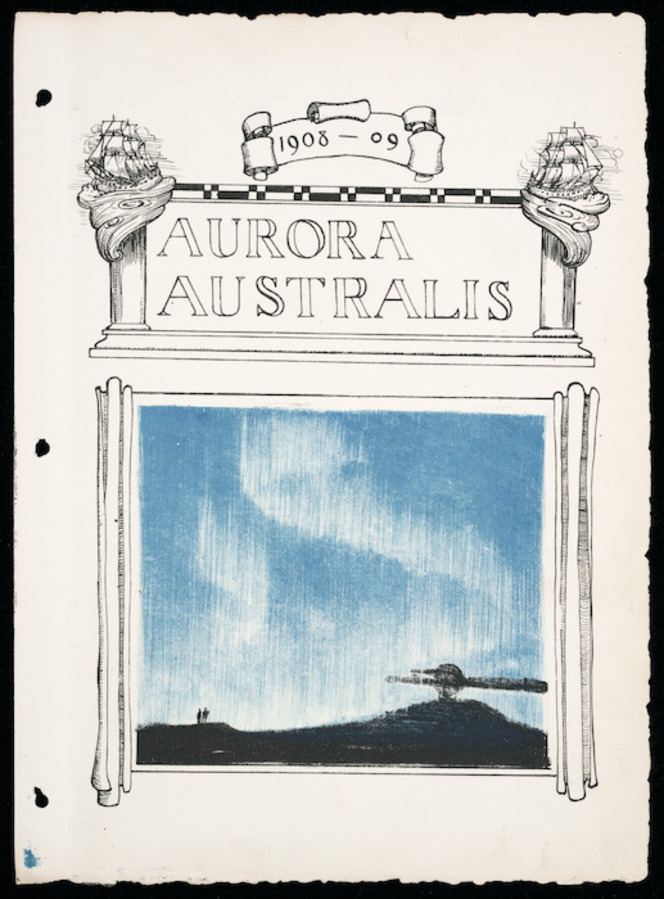 Title page of Aurora Australis, showing '1908-09', the title, and a drawing of an aurora.