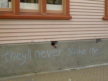 Image: Quake inspired graffiti on Worcester Boulevard 7.10.10