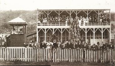 Image: the grandstand at the Sergeants Hill racecourse, Westport
