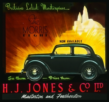 Image: Morris Eight car, H.J. Jones & Co Ltd : glass slide