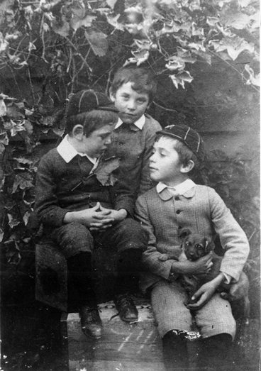 Image: Three boys with a puppy