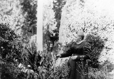 Image: Mrs Haigh in the garden at Te Rakaunui Homestead, Greytown