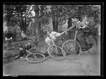 Image: [Three nurses, on bicycles, (falling over). Auckland Private Hospital]