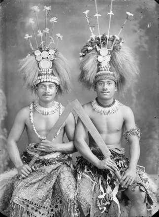 Image: [Two Samoan chiefs with cane knives]