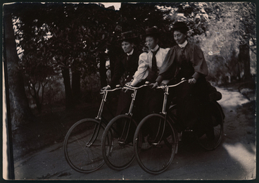 Image: [Nurse Bessie, Nurse Pierce and unidentified nurse riding bicycles]