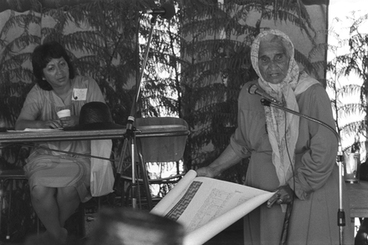 Image: Whina Cooper speaking at Waitangi Hui
