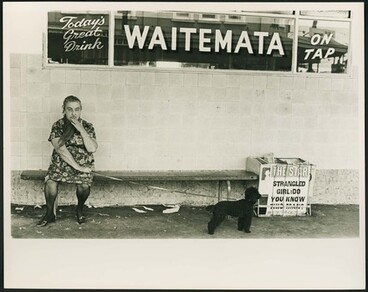 Image: Woman and dog outside the Gluepot. Ponsonby, Auckland.