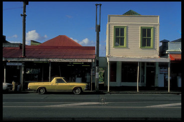 Image: Ponsonby Rd. [Yellow ute and shops]