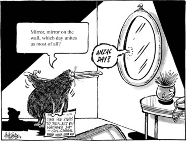 """Image: """"Mirror, mirror on the wall, which day unites us most of all?"""" """"ANZAC Day?"""" 5 February, 2009"""