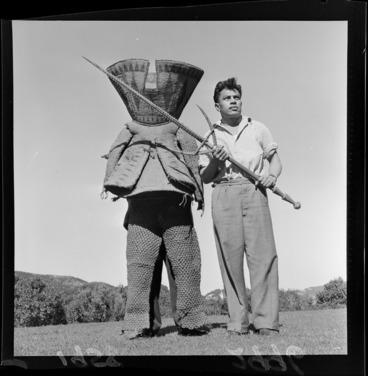 Image: Two unidentified men with a Kiribati warrior costume