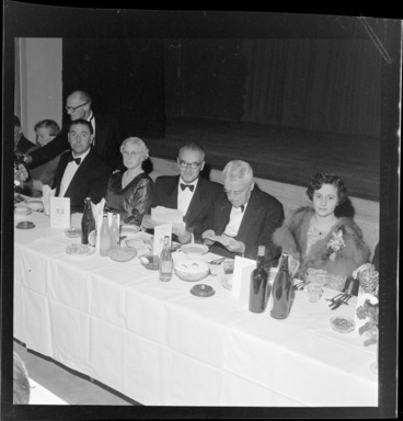 Image: New Zealand Table Tennis Association members attending a function, including Walter Nash at centre of table