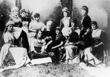 Image: Bennett, A B :Photograph of private theatrical group, including Katherine Mansfield