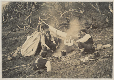 Image: Group around a campfire