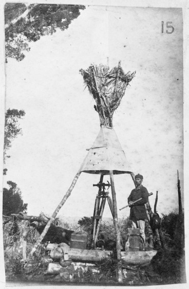 Image: Lawrence Cussen at the trig station, Maraetaua, Waitomo County