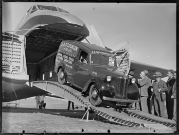 Image: J B O'Loghlen and Company Limited truck containing parcels etc, Kaikohe, departing a Bristol Freighter aircraft, delivering parcels to town