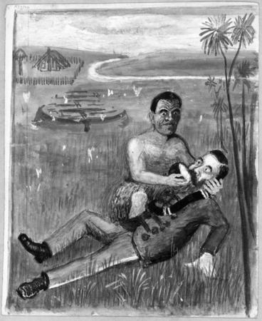 Image: [Artist unknown] :[Wiremu Henare Taratoa offers water to Lieutenant-Colonel Booth, 1864. 1860s?].