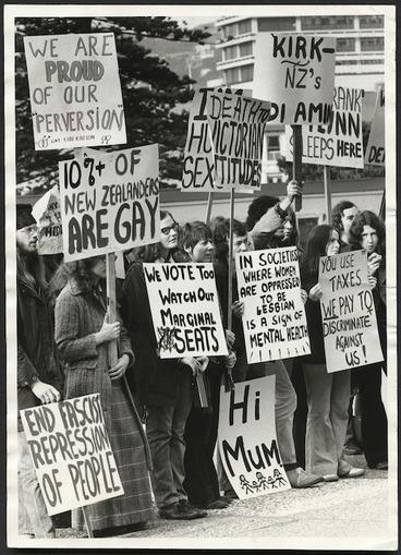 Image: Gay Liberation Movement demonstrating, Parliament grounds, Wellington, New Zealand