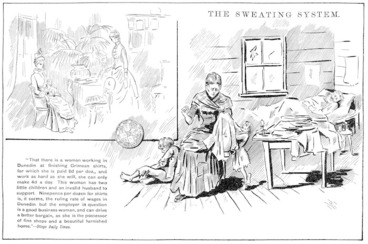 Image: Blomfield, William, 1866-1938 :The Sweating System. New Zealand Observer and Free Lance, 3 November 1888.