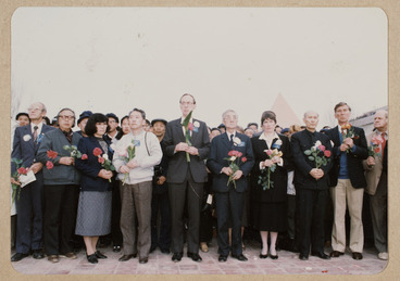 Image: Chinese and New Zealanders at Rewi Alley's funeral, China