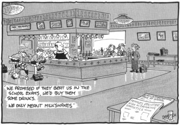 Image: Darroch, Bob, 1940- :'We promised if they beat us in the school exams, we'd buy them some drinks...' 3 December 2012]