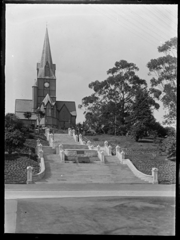 Image: Christ Church cathedral with steps leading up to church and garden, Nelson