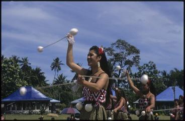 Image: Maori women performing the poi at Lepea village, at the 7th Festival of Pacific Arts, Apia, Samoa