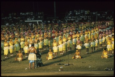 Image: Samoan children performing the Sasa at the Opening Ceremony for the 7th Festival of Pacific Arts, Apia, Samoa
