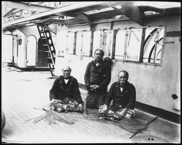 Image: Lauaki Namulau'ulu Mamoe and other chiefs, aboard a German warship