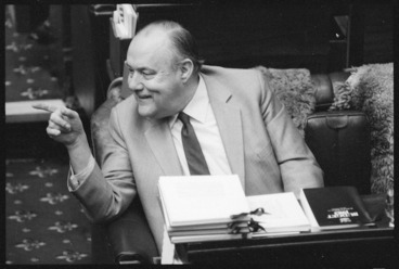 Image: New Zealand Prime Minister, Robert Muldoon, reading the budget
