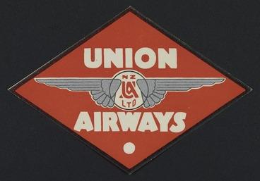 Image: Union Airways of New Zealand Ltd : [Airline sticker, diamond shape. ca 1935-1945]