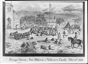 Image: [Levy, Samuel A] :Savage dance, Pai Marire - Volkner's death, March 21st, 1865. Illustrated London news