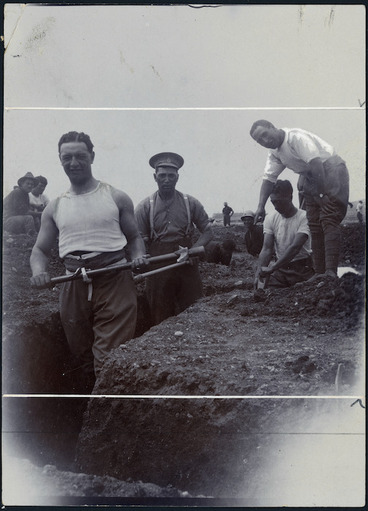 Image: Peter Buck, and other World War 1, Pioneer Battalion soldiers, digging a trench in Malta