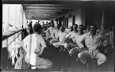 Image: Officers exercising on a transport ship
