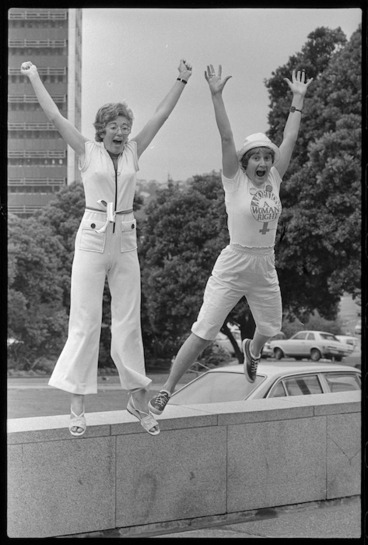 Image: Ann Hercus and Marilyn Waring preparing to play cricket