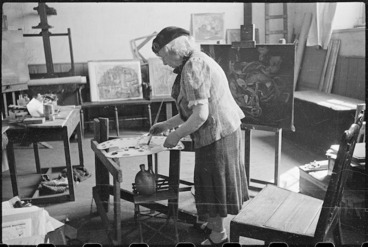 Image: Frances Hodgkins at work in her studio, Corfe Castle village, Dorset