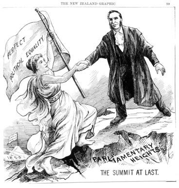 Image: New Zealand graphic and ladies journal :The Summit At Last. [Engraving by an unknown artist. 1894]