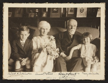 Image: Sir Robert Stout and Lady Anna Paterson Stout and two grandchildren on his 83rd birthday