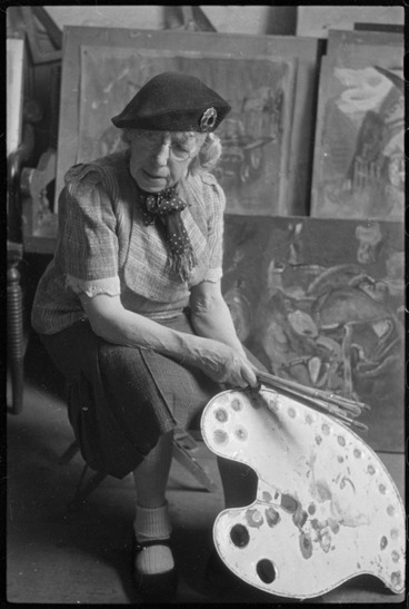 Image: Frances Hodgkins at her studio in Corfe Castle village, Dorset