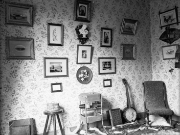 Image: Interior of William and Lydia William's house in Napier, with framed pictures