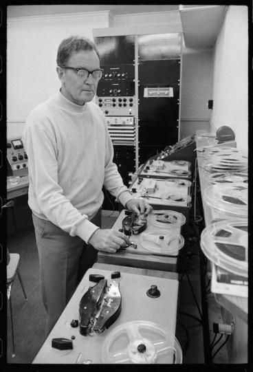 Image: Composer Douglas Lilburn in the electronic music studio at Victoria University, Wellington