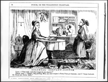 Image: Cartoonist unknown :Colonial servant-galism. Punch, or the Wellington Charivari, 1868.