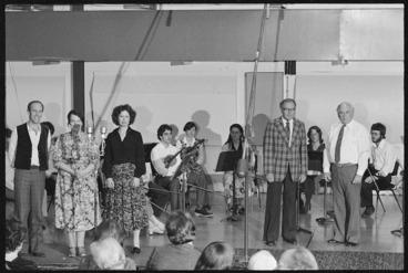 Image: Douglas Lilburn, Ashley Heenan and members of Schola Musica