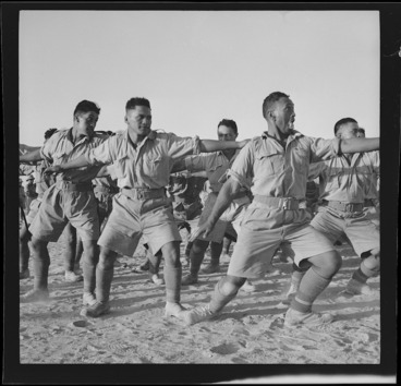Image: Members of the Maori Battalion performing a haka, during World War II, probably in Egypt