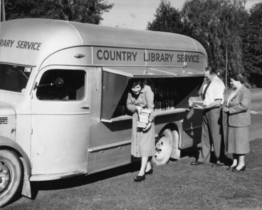 Image: Country Library Service bus and librarians, Christchurch