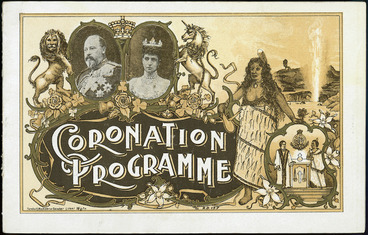 Image: [Wellington Coronation celebrations]. Coronation programme. [Cover of Order of proceedings at the Basin Reserve, Thursday 26th June 1902]. Turnbull, Hickson and Gooder, lithos, Wgtn.