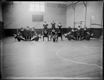 Image: Young Women's Christian Association gymnastics demonstration in a gymnasiumn